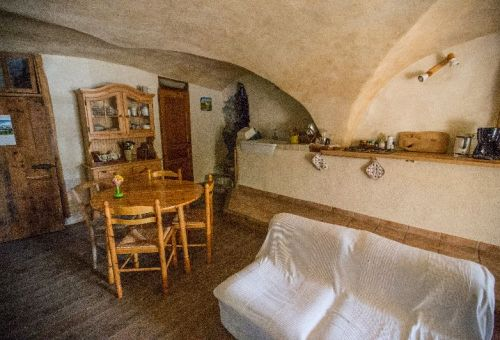 Seating area and kitchen in a quaint vault